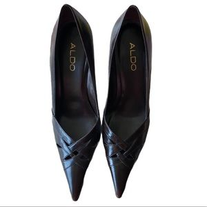 Brand New Aldo Brown Leather Pointed Heels in 9